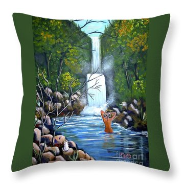 Nymph In Pool Throw Pillow