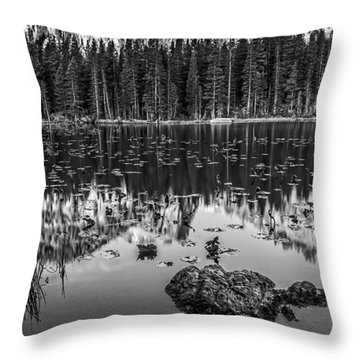 Nymph Lake Sunrise Black And White Throw Pillow