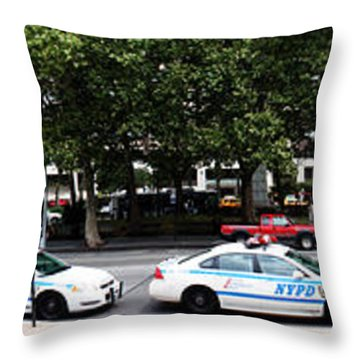 Nypd Cop Cars In Front Of Lincoln Center Throw Pillow by Nishanth Gopinathan