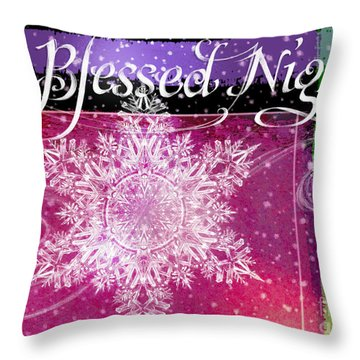 O Blessed Night Greeting Throw Pillow