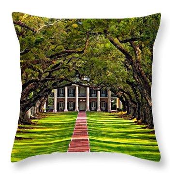Oak Alley Paint  Throw Pillow by Steve Harrington