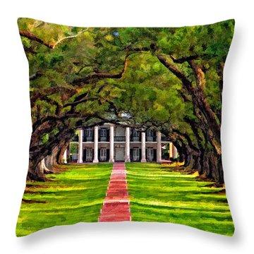 Oak Alley Paint Version Throw Pillow by Steve Harrington