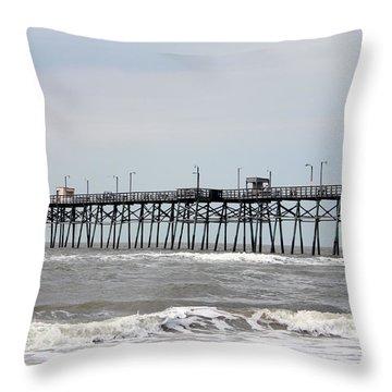 Oak Island Beach Pier Throw Pillow