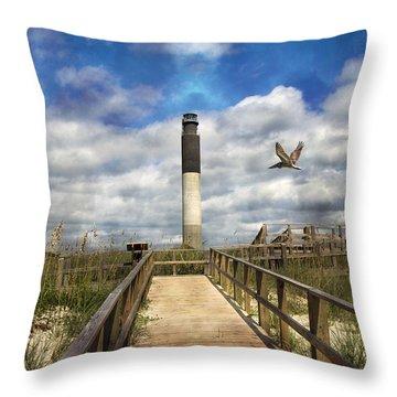 Oak Island Lighthouse Throw Pillow by Betsy Knapp