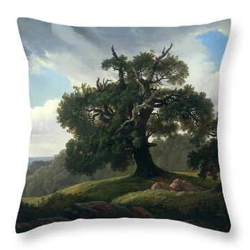 Oak Trees By The Sea Throw Pillow