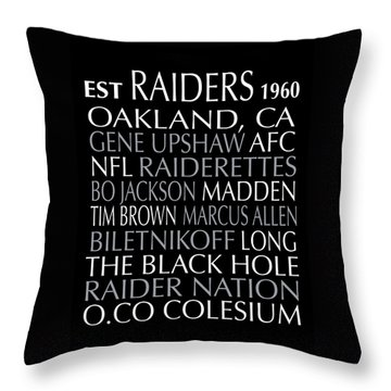 Oakland Raiders Throw Pillow