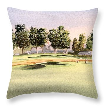 Throw Pillow featuring the painting Oakmont Golf Course 14th by Bill Holkham