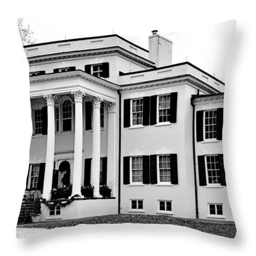 Oatlands Plantation - Black And White Throw Pillow by Brendan Reals