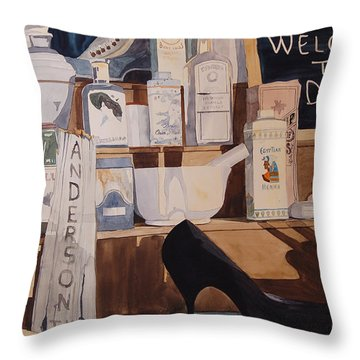 Oberkamp Drugstore Window Throw Pillow