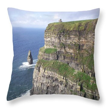 Cliffs Of Moher - O'brien's Tower Throw Pillow