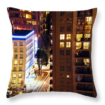 Throw Pillow featuring the photograph Observation - Man In Window Dclxxxi by Amyn Nasser