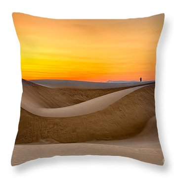 Observing Sunset At The Oceano Dunes Throw Pillow