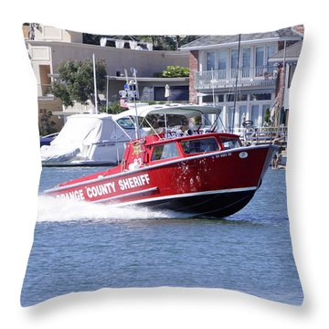 Oc Sheriff Harbor Patrol Fire Fighter Throw Pillow by Shoal Hollingsworth