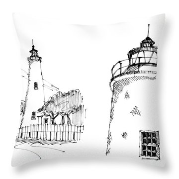 Throw Pillow featuring the drawing Ocaracoke Lighthouse Detail Sketches 1992 by Richard Wambach