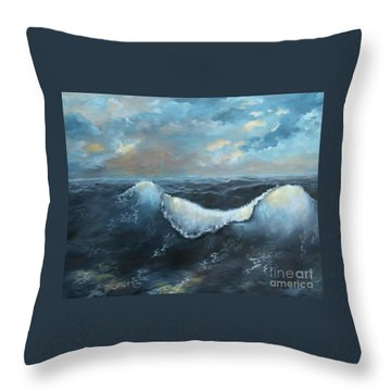 Ocean At Sunset Throw Pillow