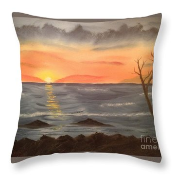 Ocean At Sunset Throw Pillow by Tim Blankenship
