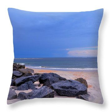 Ocean Beach Rocks Throw Pillow