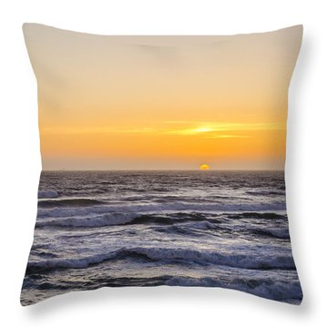 Ocean Beach Sunset Throw Pillow