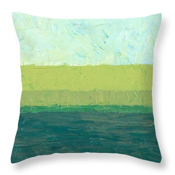 Ocean Blue And Green Throw Pillow by Michelle Calkins