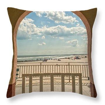 Ocean City Beach View Throw Pillow