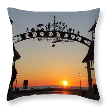 Ocean City Boardwalk Arch New Year Sunrise Throw Pillow by Robert Banach