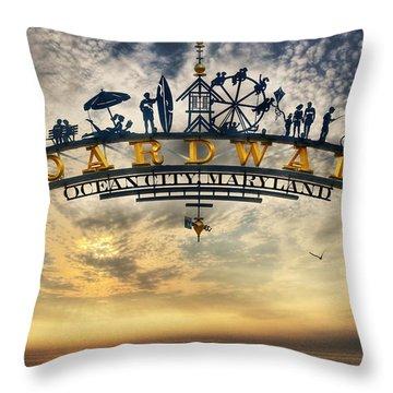 Ocean City Boardwalk Throw Pillow