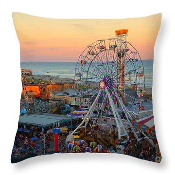 Ocean City Castaway Cove And Music Pier Throw Pillow