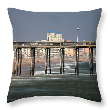 Throw Pillow featuring the photograph Ocean City Fishing Pier In January by Bill Swartwout