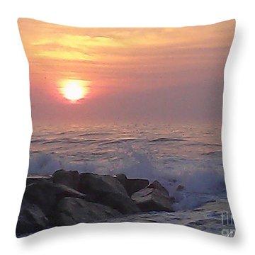 Ocean City Inlet Jetty At Sunrise Throw Pillow by Robert Banach