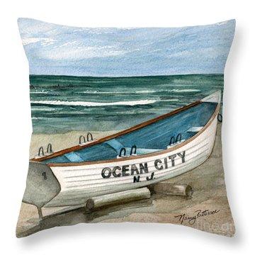 Ocean City Lifeguard Boat 2  Throw Pillow