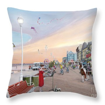 Ocean City Maryland Throw Pillow by Albert Puskaric