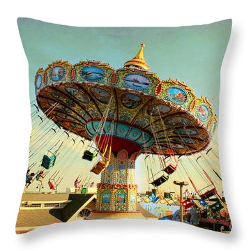 Ocean City Nj Carousel Swing Time Throw Pillow