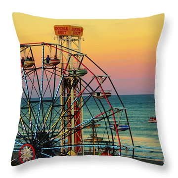 Ocean City Nj Wonder Wheel And Double Shot Throw Pillow