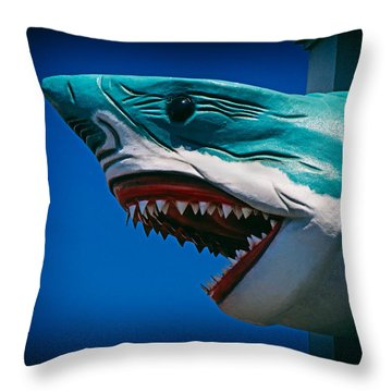 Ocean City Shark Attack Throw Pillow