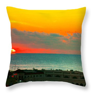 Ocean City Sunrise Over Music Pier Throw Pillow
