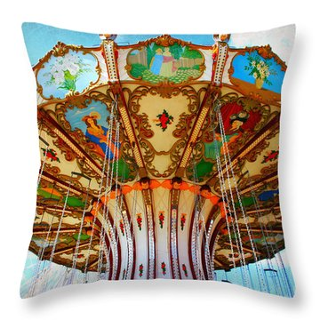 Ocean City Swing Carousel Throw Pillow