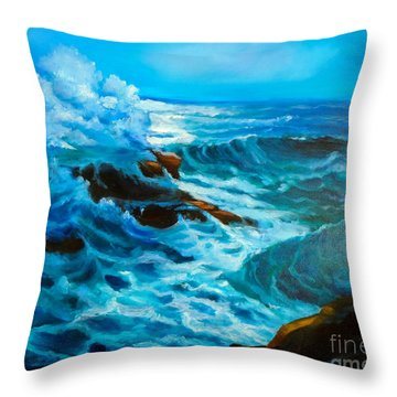Throw Pillow featuring the painting Ocean Deep by Jenny Lee