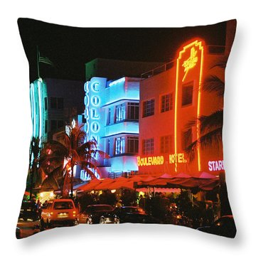 Throw Pillow featuring the photograph Ocean Drive Film Image by Gary Dean Mercer Clark