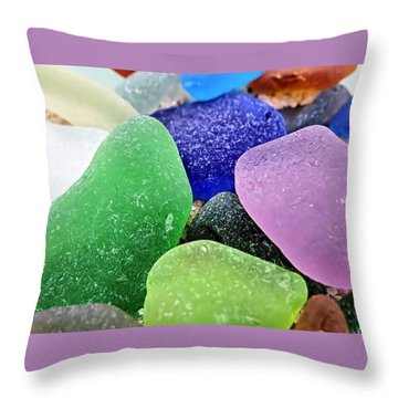 Throw Pillow featuring the photograph Ocean Glass by Janice Drew