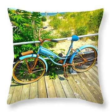 Throw Pillow featuring the photograph Ocean Grove Bike by Joan Reese