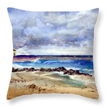 Ocean  Inlet Beach In Boynton Beach Throw Pillow by Donna Walsh