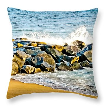 Ocean Jetty Throw Pillow by Colleen Kammerer