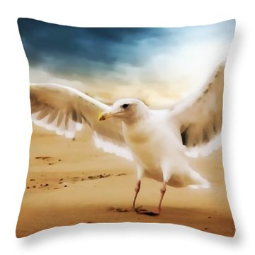 Throw Pillow featuring the photograph Ocean Landing by Aaron Berg