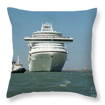 Ocean Liner And Boat Throw Pillow by Evgeny Pisarev