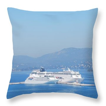 Ocean Liners In Corfu Throw Pillow