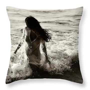 Ocean Mermaid Throw Pillow by Jenny Rainbow