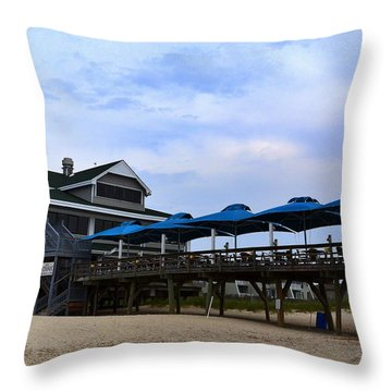 Ocean Pier And Restaurant Throw Pillow