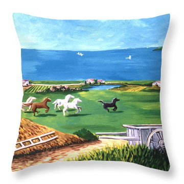 Throw Pillow featuring the painting Ocean Ranch by Lance Headlee