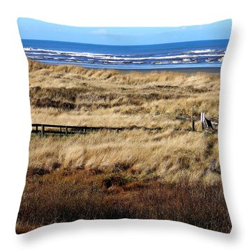 Throw Pillow featuring the photograph Ocean Shores Boardwalk by Jeanette C Landstrom