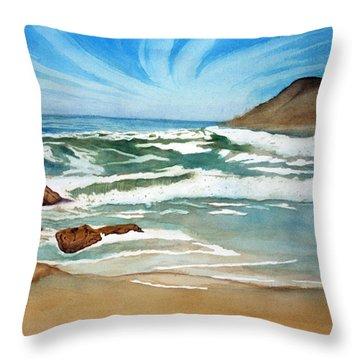 Ocean Side Throw Pillow by Rick Huotari